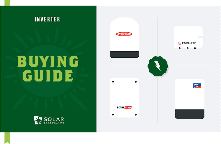 This image shows the Solar Calculator buying guide to selecting the best inverter. It includes images of the best four solar inverters.