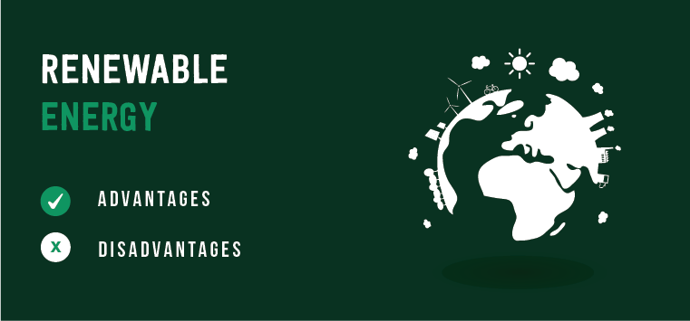 Advantages and disadvantages of renewable energy showing the earth powered by renewable sources.