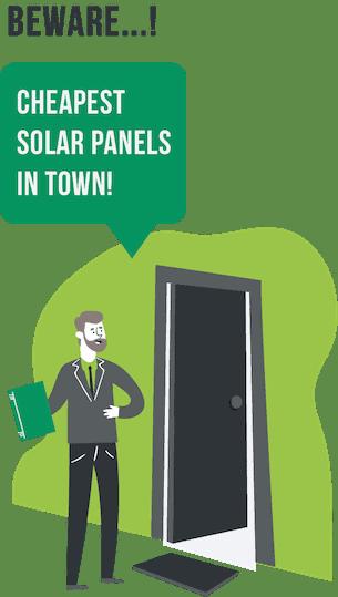 beware cheap solar image showing a door-to-door sales rep
