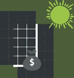 solar panels with money bag symbol