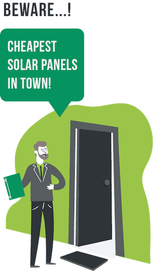 beware cheap solar panels graphic showing a door-to-door sales rep